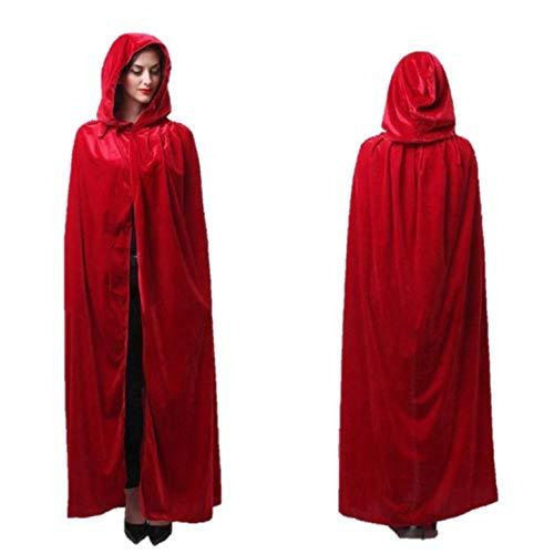 (eBoutik Umhang-Halloween-Weihnachtsmärchen-Rotkäppchen-Hexe der Damen langes in voller Länge (rot))