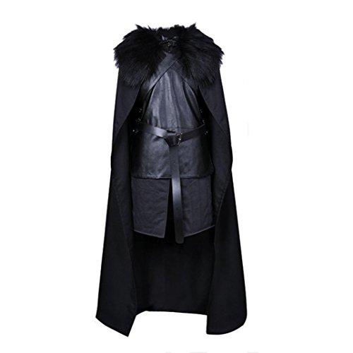 g Mann Halloween-Männer GoT Jon Schnee-Halloween-Partei-Satz (s, Schwarz) (Leder Jacke Herren Kostüm)