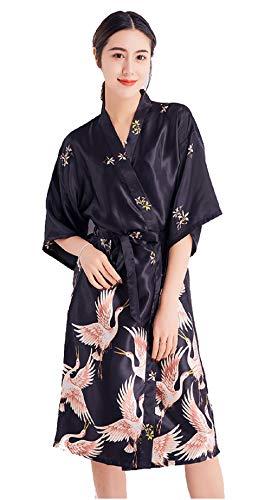 Damen Morgenmantel Lang Seide Satin Kimono Kleid Bademantel Damen Lange Robe Schlafmantel Girl Pajama Party Schwarz XL
