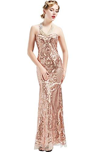 ArtiDeco 20er Jahre Cocktailkleid Damen 1920s Vintage Abendkleid Maxi Lang Bustier Damen Gatsby Kostüm Flapper Kleid (Gold, M) (Flapper Gold Kleid)