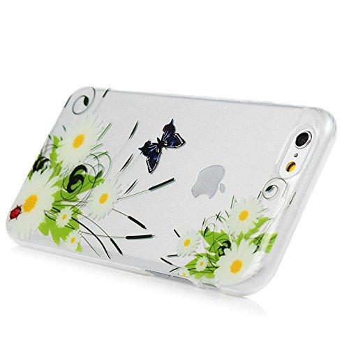 Für iPhone 6 / iPhone 6S Cover, Yokata Transparent Comic Motiv TPU Soft Case mit Weich Silikon Bumper Crystal Clear Klar Schutzhülle Durchsichtig Dünne Case Hülle + 1 X Stylus Pen - Macaron Blumen B