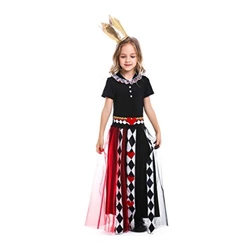 Jeff-chy Halloween Mädchen Cosplay Kostüme Alice Im Wunderland Cosplay Kostüme Poker Queen Print One Piece Rock Set,Schwarz,XS (Kind Satin Alice Kostüm)