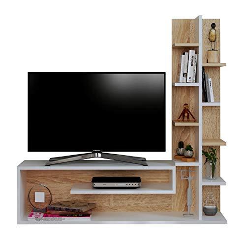Glory set soggiorno - parete attrezzata - mobile tv porta con mensola in moderno design (bianco - sonoma)