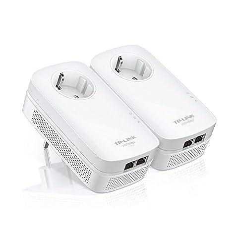 TP-Link CPL AV2000 (Débit 2000 Mbps), 2 Ports Ethernet Gigabit, Prise Intégrée Version Européenne, Pack de 2 CPL (TL-PA9020P KIT)