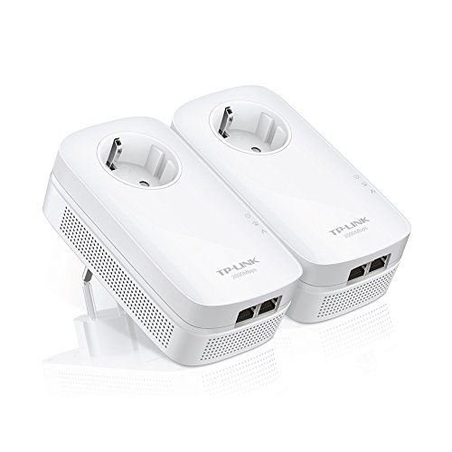 TP-Link AV2000 TL-PA9020P KIT - Extensor de red por línea (Gigabit, Passthrough (enchufe incorporado), 2000 Mbps Powerline, 2 x 2 MIMO, HomePlug AV2, IPTV, eficiencia energética)