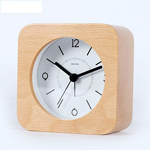 Oak Grain Walnut Color Solid Wood Silence Small Alarm Clock Living Room Bedroom Round Desk Square 4 Colors 10 cm Alarm Clock Band Night Light Postpone FeaturesClock,C