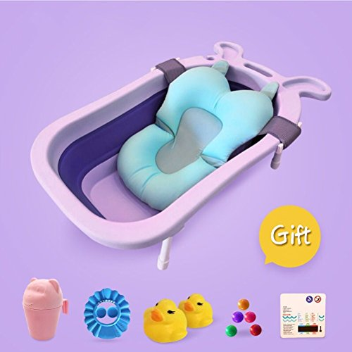 CLOTHES UK- Baby Badewanne Rutschfeste Matte Portable Faltbare Badewanne Komfort Faltbare Duschwanne Deluxe Neugeborenen Kleinkind-Wanne Badewanne (Farbe : H)