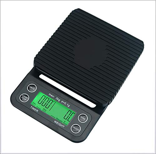 ZUEN Tragbare elektronische Skala mit Timer LCD Digital Kitchen Kaffeeskala Weighing Tool Libra Präzisionsschmuck-Maßstab - Skala-timer