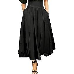 Jupe Femme Longue Taille Haute Tutu Uni Simple Poche Vintage Élégante Classique Rétro Plissé Stretch Bureau Cocktail Party Maxi Belted avec Deux Poches Avant Fendue Ceinture Casual (L, Noir)