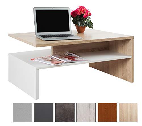 Ricoo tavolino basso da divano da soggiorno design wm080-w-es tavolo da salotto giorno mobile da lavoro moderno con due piani/quadrato rettangolare/in legno/colore rovere sonoma e bianco