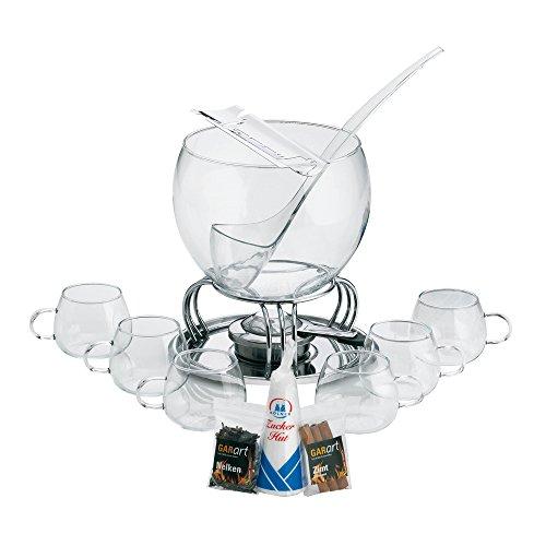 feuerzangenbowle Kela 366160 Glas-Feuerzangenbowle-Set, Heinz Rühmann, 15-teilig, 3,5 l, Feuerzangenbowle Heinz Rühmann