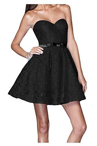 Toscane plis forme de cœur de mariée Soirée Vêtements courte Satin & dentelle Lave-vaisselle Cocktail Party Abi Balle Vêtements Noir - Noir
