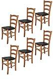 Tommychairs 6er Set Stühle Venice, Robuste Struktur aus lackiertem Buchenholz im Farbton Kirschbaum und Sitzfläche mit Kunstleder in der Farbe Schwarz bezogen. Set bestehend aus 6 Stühlen Venice