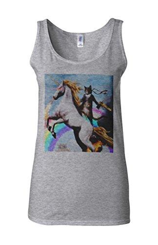 Crazy Cat Unicorn Rainbow Novelty White Femme Women Tricot de Corps Tank Top Vest Gris Sportif
