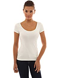 PattyBoutik Women s Scoop Neck Lace Up Back Blouse 8ef11aed1
