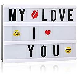 Boîte Lumineuse avec, A5 Lumineuse Boite LED Cinéma Boîte avec 110 Lettres pour les Festivals, Mariages, Fêtes, Anniversaires