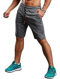 c2086d099a1 CLOUSPO Short de Course pour Hommes avec Poches Zippées Invisibles Short de  Sport Léger Short Respirant Séchage Rapide pour…