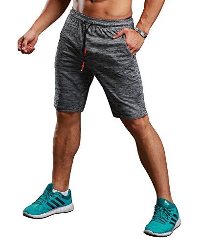 CLOUSPO Short de Course pour Hommes avec 4 Poches Zippées Invisibles Short de Sport Léger Short Respirant Séchage Rapide pour Jogging Entraînement Gym Fitness Gris (EU M/Tag L)