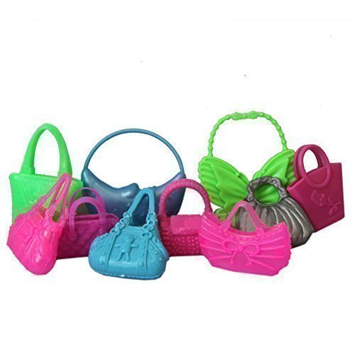Cute Mix 10pcs Barbie Handbag Shoulderbag For Barbie Doll Accessory (Not Mattel)