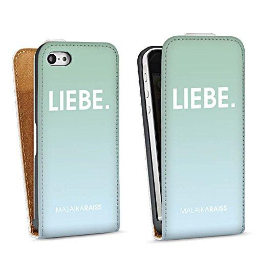 Apple iPhone 5s Housse Étui Protection Coque Amour Amour Menthe Sac Downflip blanc