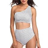 TEBAISE 2019 Sommer Boho Badeanzug Bikini Set Damen Push Up High Cut Ribbed Bandeau Bikini Set Frauen Brasilianischer Hosenträger Bikini Strandkleider Tankinis Schwimmen Bademode
