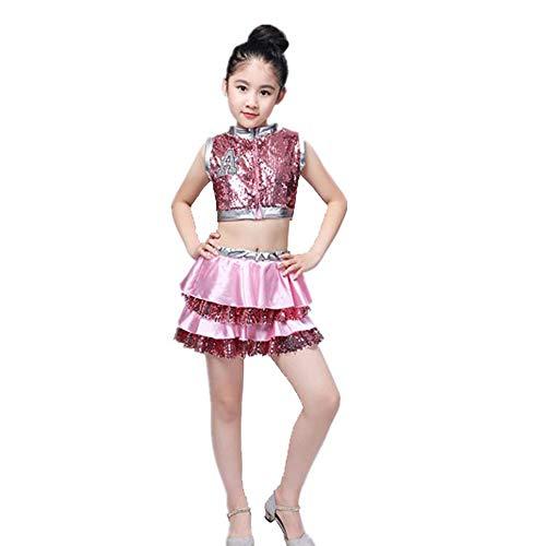 HUO FEI NIAO Tanzkostüm - Kindertag Kostüme Mädchen Pailletten Hosen Rock Set Jazz Tanz Street Dance Kindergarten Performance Kostüm (Farbe : Rosa, größe : 130cm) (Street Jazz Kostüm)