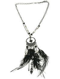 7b392c0ce58a Collar de Cadena de Color Plateado - Collar Dream Catcher con Plumas Negras  - Collares de