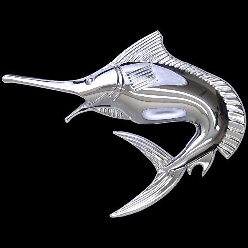 3D Chrom Emblem Aufkleber Logo Schwert Fisch Marlin Angler Taucher Diver L124