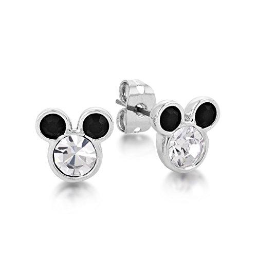 Pendientes con diseño del personaje de Disney, Minnie Mouse, bañados en oro blanco y con cristales blancos y negros engastados