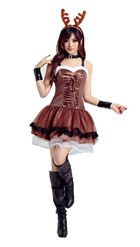 Honeystore Damen's Weihnachtsfraukostüm Cosplay Outfit Weihnachten Karneval Party Kleid One Size (Scream Braun Kostüm)