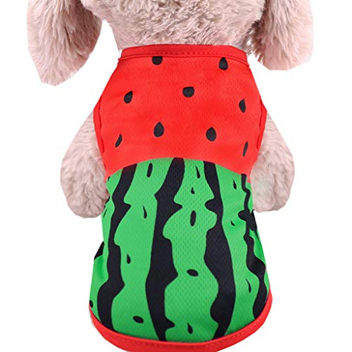 SOMESUN Sommer Haustier Hund Kleidung Dünnschliff FrüHling Und Herbst Mode Teddybär Pommerschen Katze Sommerkleid Haustier Kleidung Mode Flut Weste Wassermelone Krabben Drucken T-Shirt