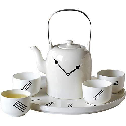 TEAHOM Teeservice Moderne Teekanne Porzellan Tassen,Kreativ Kung fu Gong Fu Uhr Tee Set Bugholz Griff Lifestyle Teeservice für Lose Blätter & Flower Teebeuteln Kräutertee,weiß