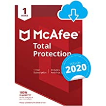 McAfee Total Protection 2020   1 Device   1 Year   PC/Mac/Android/Smartphones   Download Code