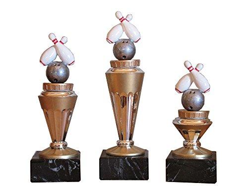 3er-Serie Bowling-Pokale (RH) auf Marmorsockel mit Wunschgravur und 3 Bowling-Anstecknadeln.