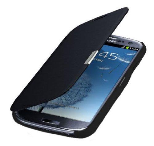 Q1 Samsung Galaxy S3 mini i8200n i8190 Flip Cover Schwarz/Black Hülle Tasche Akkudeckel Flip Case