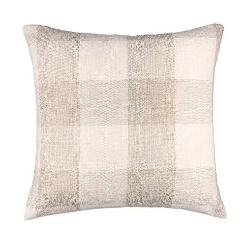 K0k2t0 Beige White Checkers Plaids Linen Square Throw Pillow Case Decorative Cushion Cover Pillowcase Cushion Case for Sofa 18 x 18 Inch Hot Pink Checker