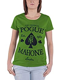 Pogues T Shirt Original Pogue Mahone Logo offiziell damen Nue Grün Skinny Fit