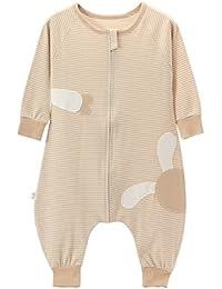 Happy Cherry 2 en 1 Pyjama Grenouillères Combinaison Bébé Fille Garçon - Sac de Couchage en Coton Respirant Gigoteuse Rayures à Manches Longues pour Printemps Automne Hiver - 1-3 ans - 2 Couleur