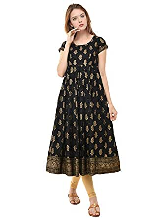 Poshak Women's Print Anarkali Round Neck, Side Zipper, Cap Sleeve, Ankle Length with A Pair of Golden Latkan (P421, Black with Gold, Small)