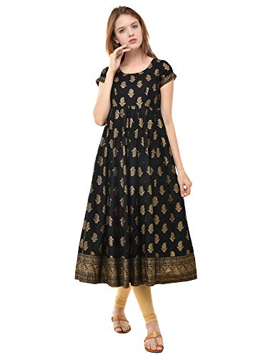 Poshak Women\'s Print Anarkali Round Neck, Side Zipper, Cap Sleeve, Ankle Length with A Pair of Golden Latkan (P421, Black with Gold, Small)