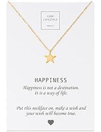 LUUK LIFESTYLE Joya de mujer, tarjeta de regalo, gargantilla con colgante de estrella y cita «Happiness», amuleto, rosé, plata o oro