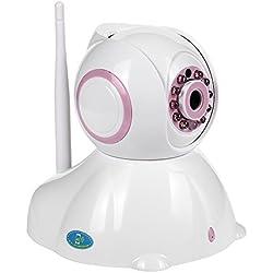 Cámara IP HD WiFi de Vigilancia Seguridad Interior Detección Movimiento Visión Nocturna Visualización Remota Alarma P2P Pan Tilt Compatible con iOS y Android