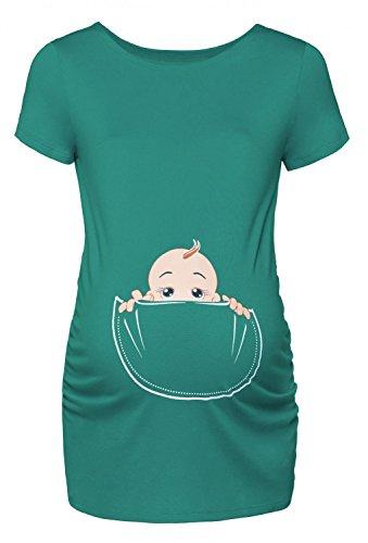 Happy Mama. Damen Baby in der Tasche T-Shirt Top Oberteil für Schwangere. 501p (Minze, EU 40/42, L) (Baby Frauen T-shirt)