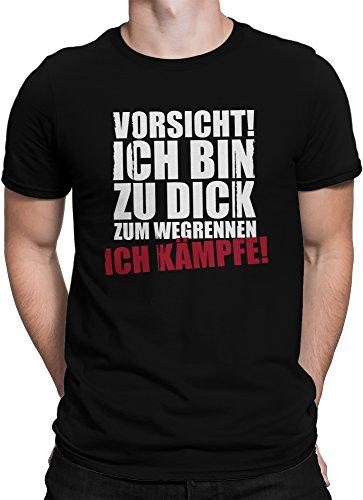 vanVerden Herren T-Shirt - Vorsicht ich Bin zu dick zum Wegrennen - Ich kämpfe, Farbe:Schwarz, Größe:4XL - Dick Lustig T-shirt