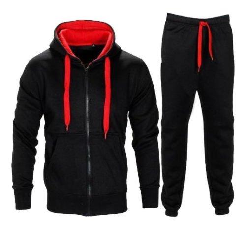 Da uomo Contrasto Corda in pile con cappuccio Top Pantaloni Palestra Jogging Set Tuta Black/Red S
