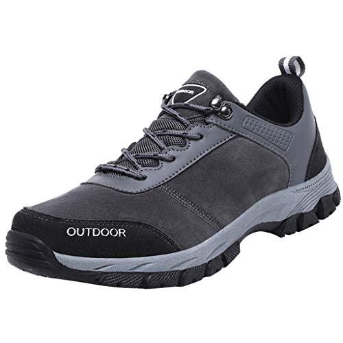 HDUFGJ Wanderschuhe Herren Low Trekking- & Wanderhalbschuhe rutschfeste Outdoor-Schuhe Bequeme Trekkingschuhe Leichte Wanderschuhe Herren Wasserdicht Outdoor Schuhe Männer 44 EU(Grau)