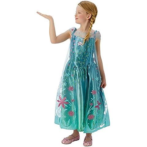 Frozen - Disfraz Elsa Fever Deluxe, para niñas, talla S, color turquesa (Rubie's 610907-S)