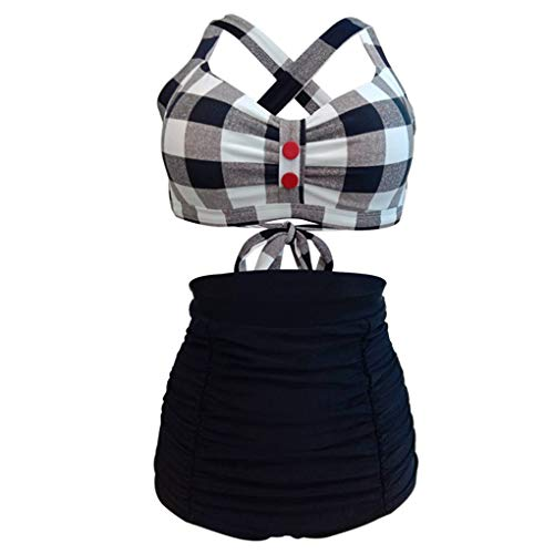 Bademode Badeanzüge für Frauen Damen Plaid Bikini Retro Badeanzug Hohe Taille, Schwarz Bikinis (Farbe : Black Plaid, Größe : XXXL)