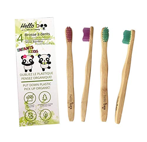 Cepillo De Dientes De Bambú Para Niños | Juego De 4 Cepillos De Dientes Biodegradables | Bambú De Moso Ecológico Y Ecológico Con Mangos Ergonómicos Y Cerdas Suaves De Nailon | Por Hello Eco Company