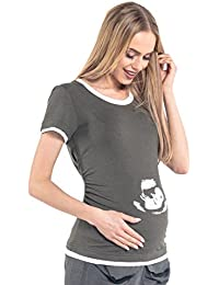 Happy Mama. Para Mujer Camiseta premamá Imagen ultrasonido bebé T-shirt. 054p
